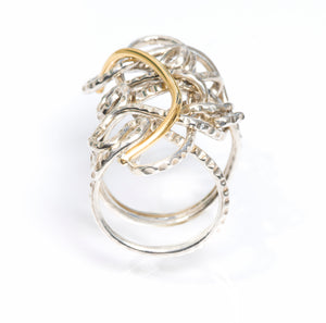 Mixed Metal Statement Endless Love Ring