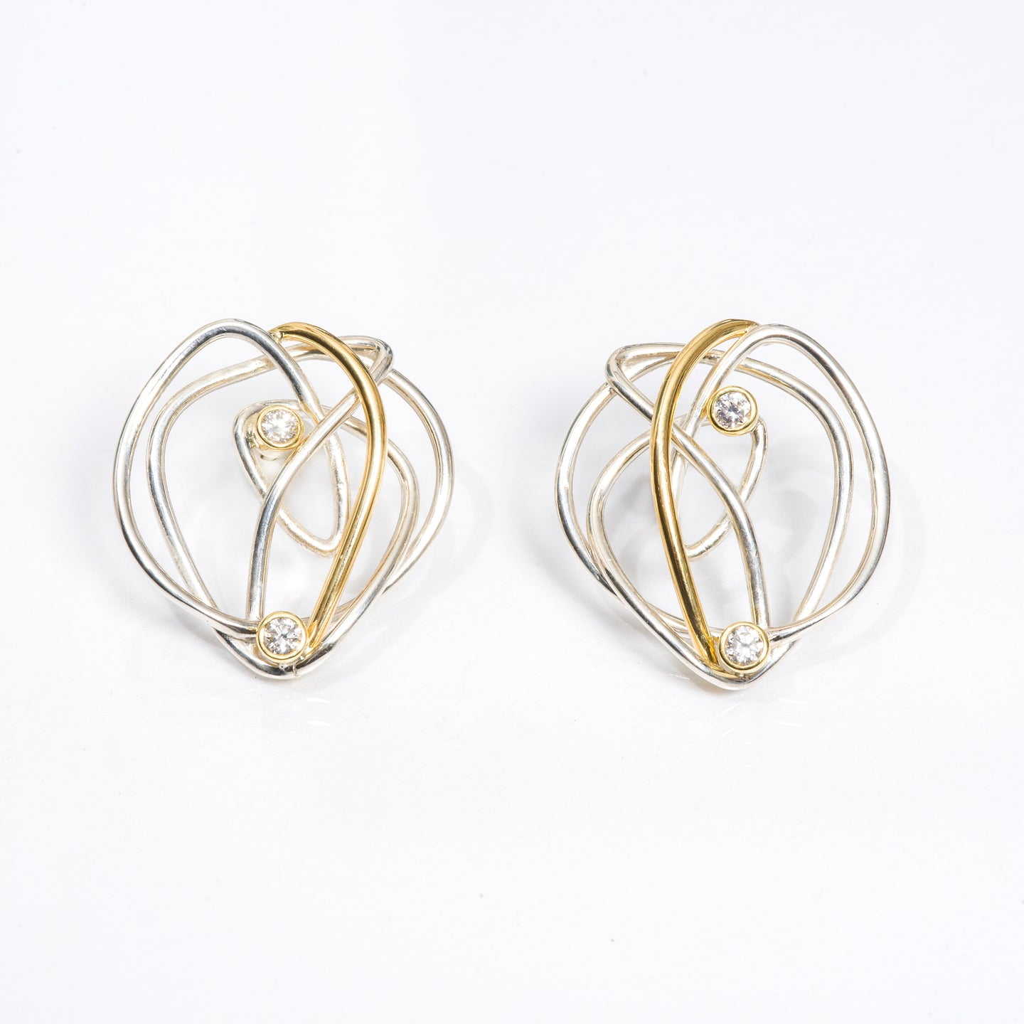 Silver and Gold Diamond Earring | Nikki Sedacca Art Jewlery