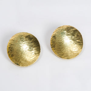 18 kt Gold Ocean Wave Disk Earring