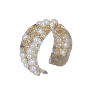 Ocean Wave Two-Tone Pearl Cuff