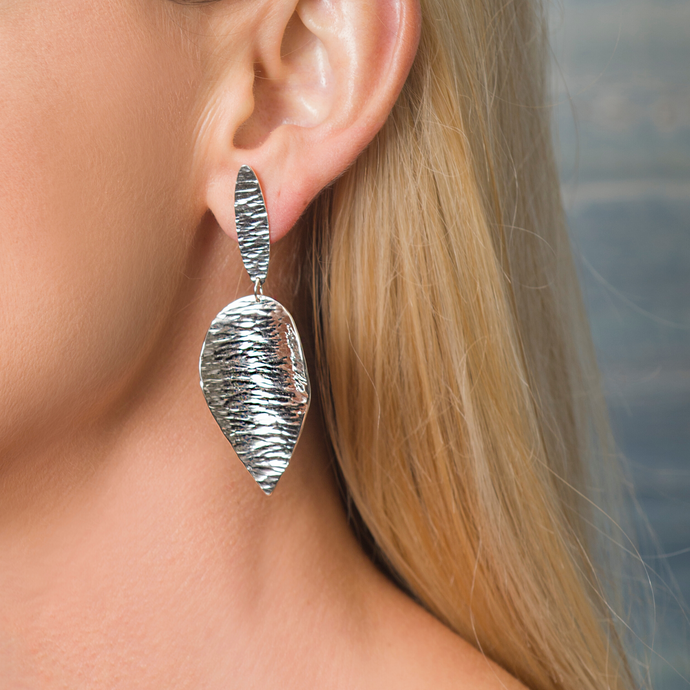 Large Sterling Silver Leaf Earring