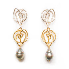 Load image into Gallery viewer, 18kt Gold & Sterling Silver Endless Love Earrings with Tahitian Pearls