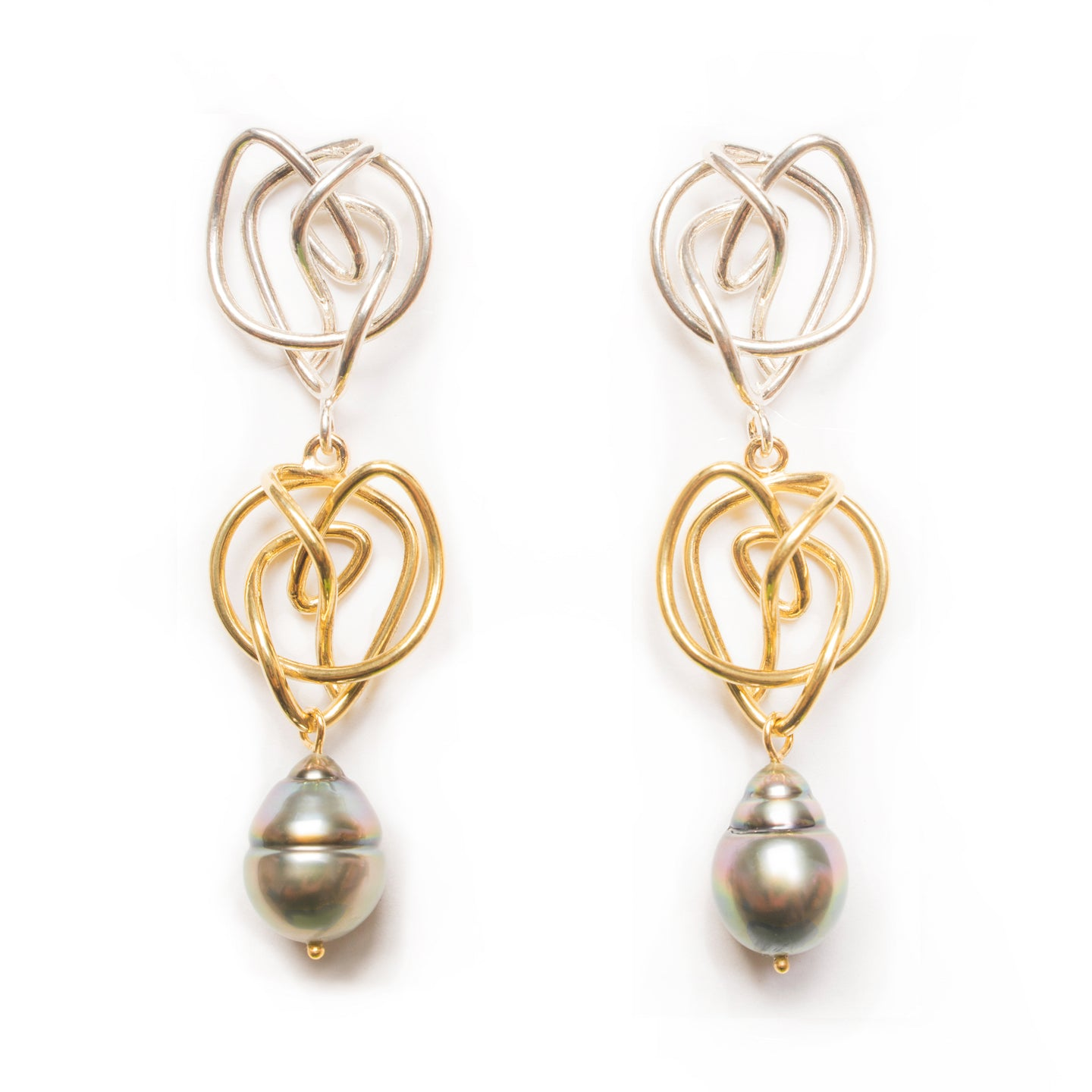 18kt Gold & Sterling Silver Endless Love Earrings with Tahitian Pearls