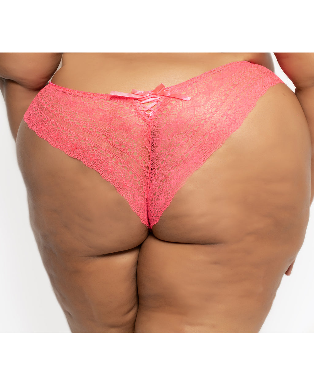 Geo Galloon Lace Panty Coral Curvy
