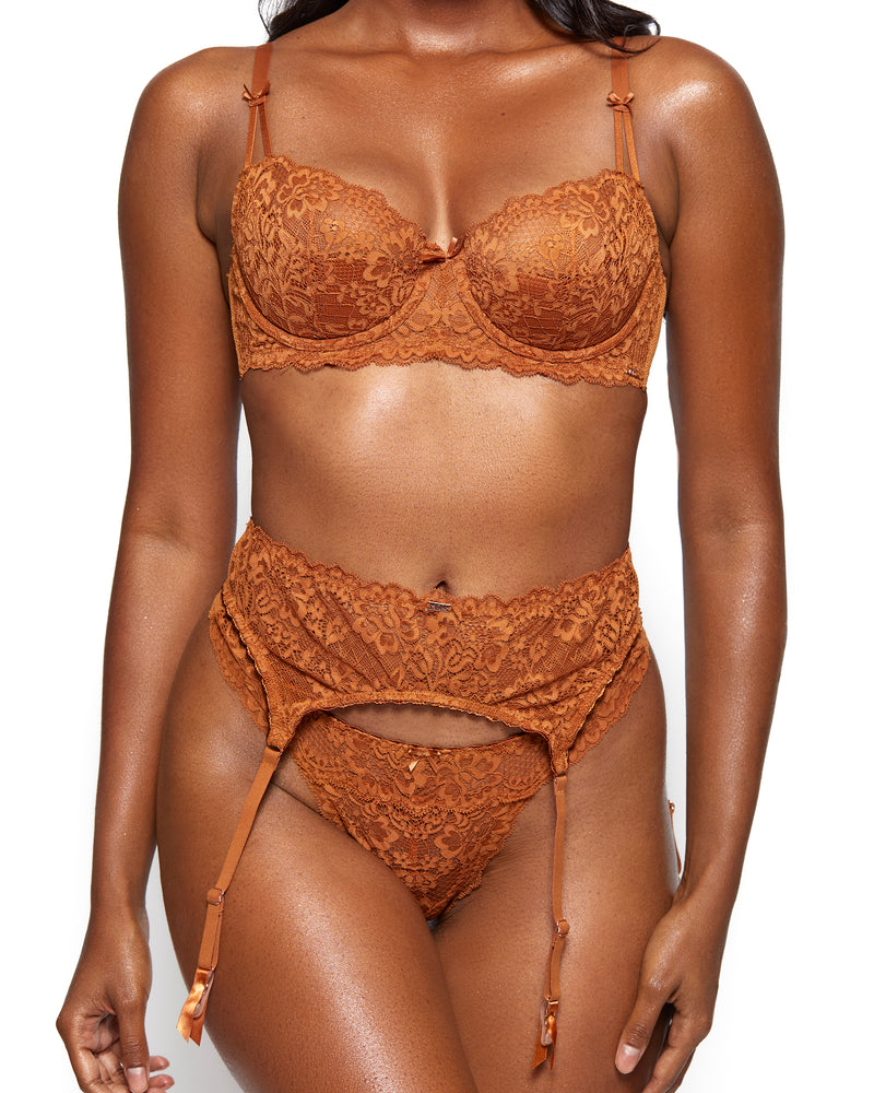 Love, Vera Nude Floral Lace Unlined Balconette Bra Butter Toffee
