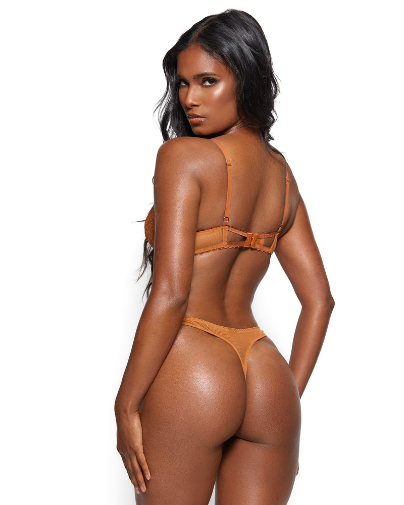 Love, Vera Nude Floral Lace & Mesh Thong Butter Toffee Curvy