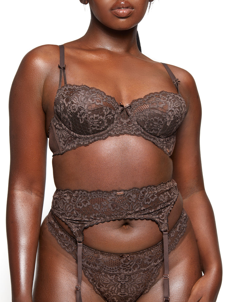 Love, Vera Nude Floral Lace & Mesh Thong Dark Cocoa