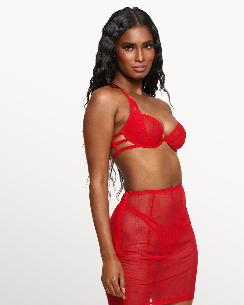Love, Vera Dot Mesh Pencil Skirt Candy Apple Red