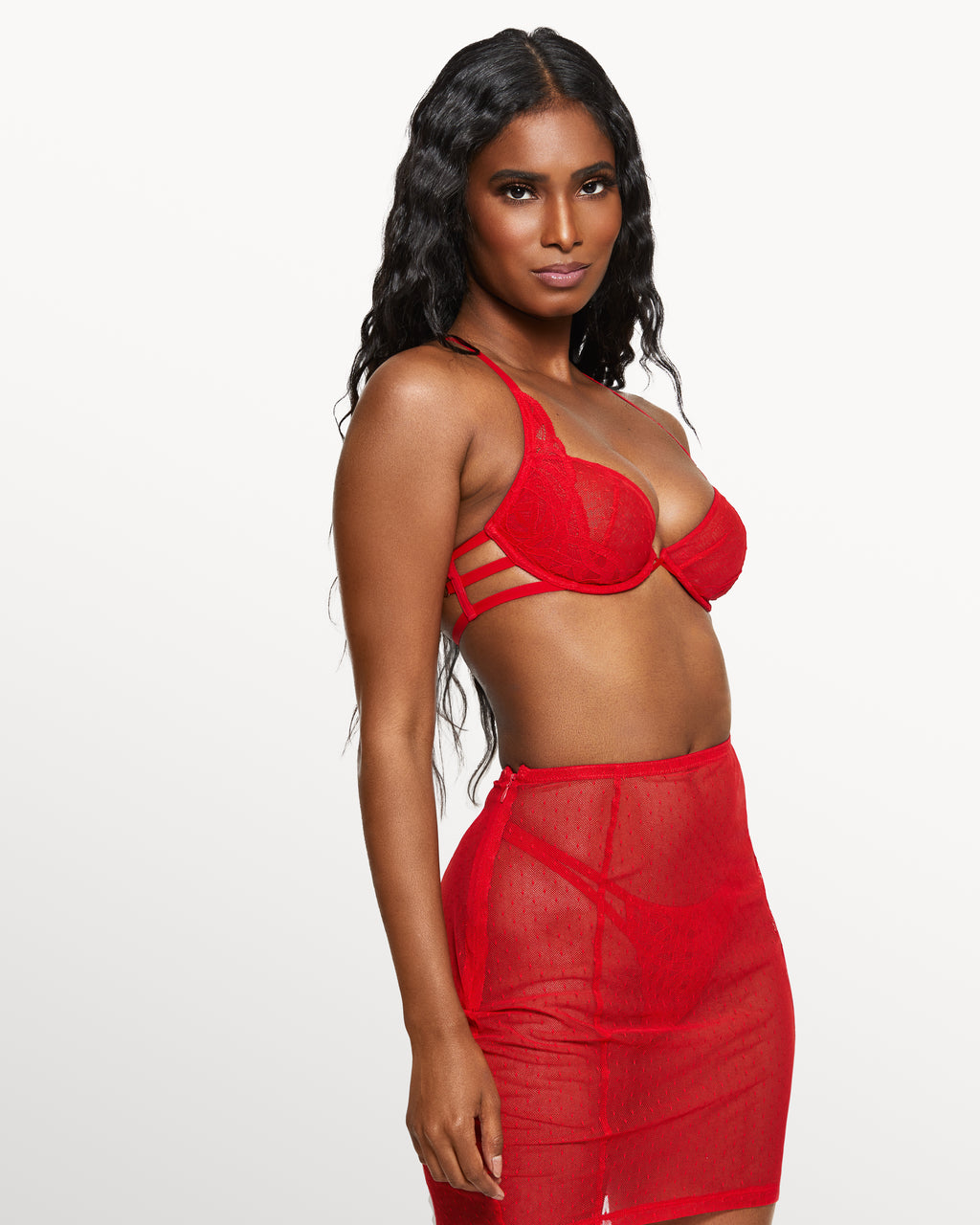 Love, Vera Mesh & Lace Skirt Set Candy Apple Red