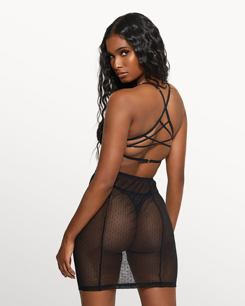 Love, Vera Mesh & Lace Skirt Set Black