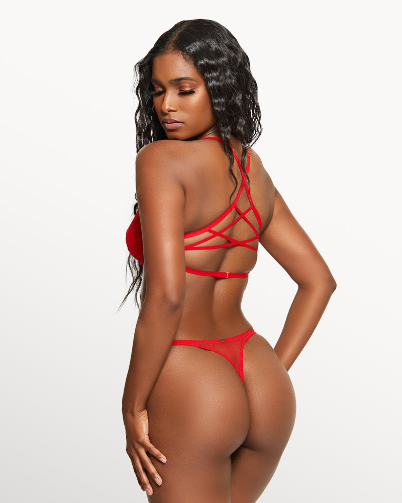 Love, Vera Rose Lace Thong Candy Apple Red
