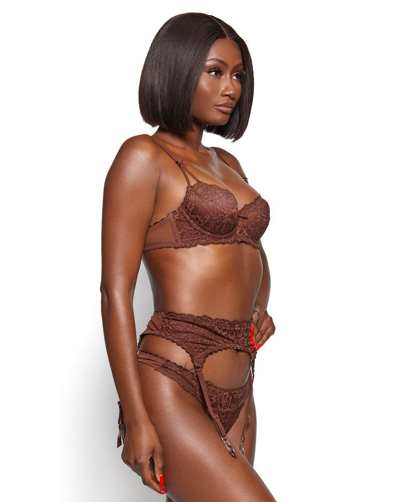 Love, Vera Nude Floral Lace & Mesh Thong Chocolate Fondant
