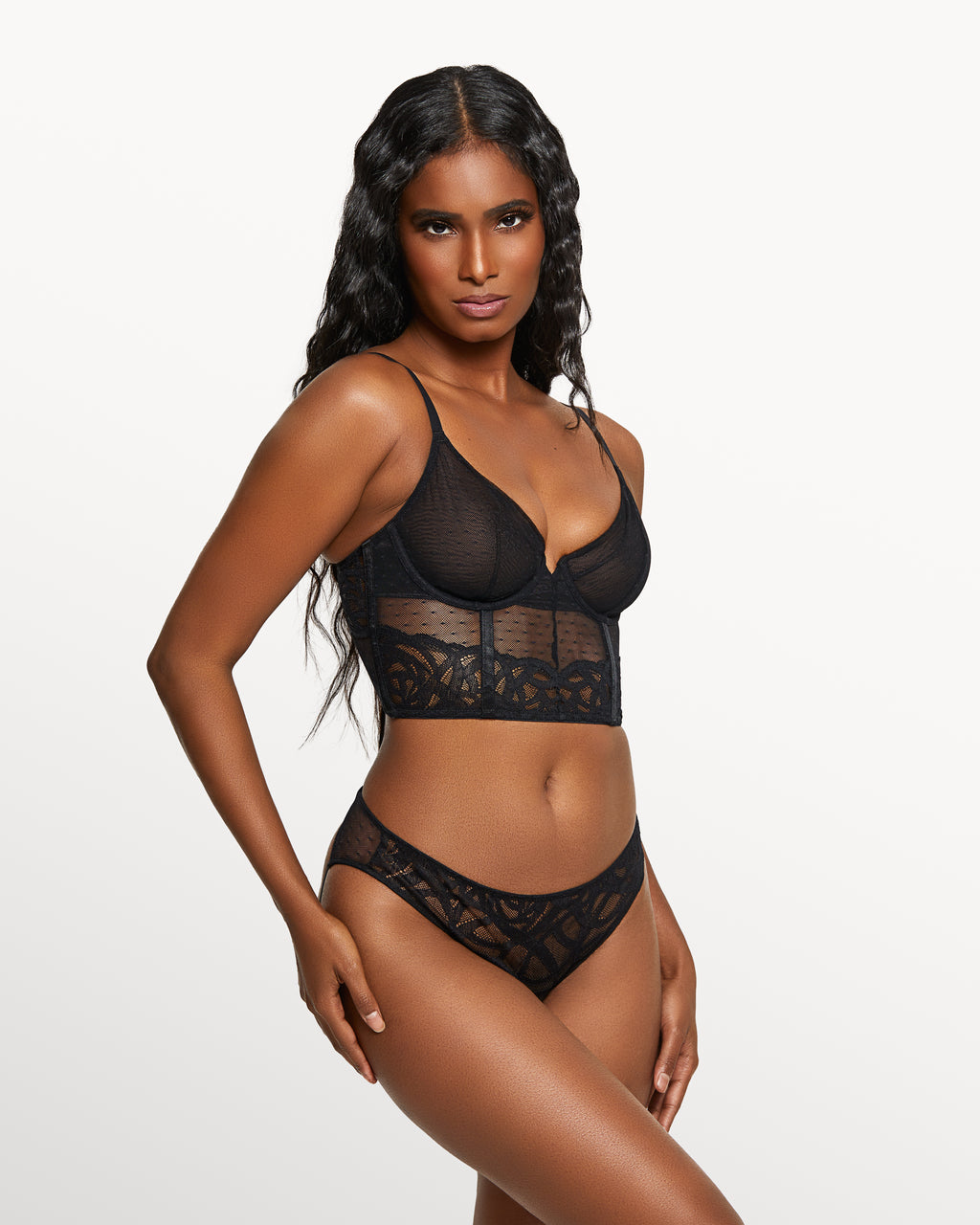Love, Vera Floral Rose Lace Bustier Set Black
