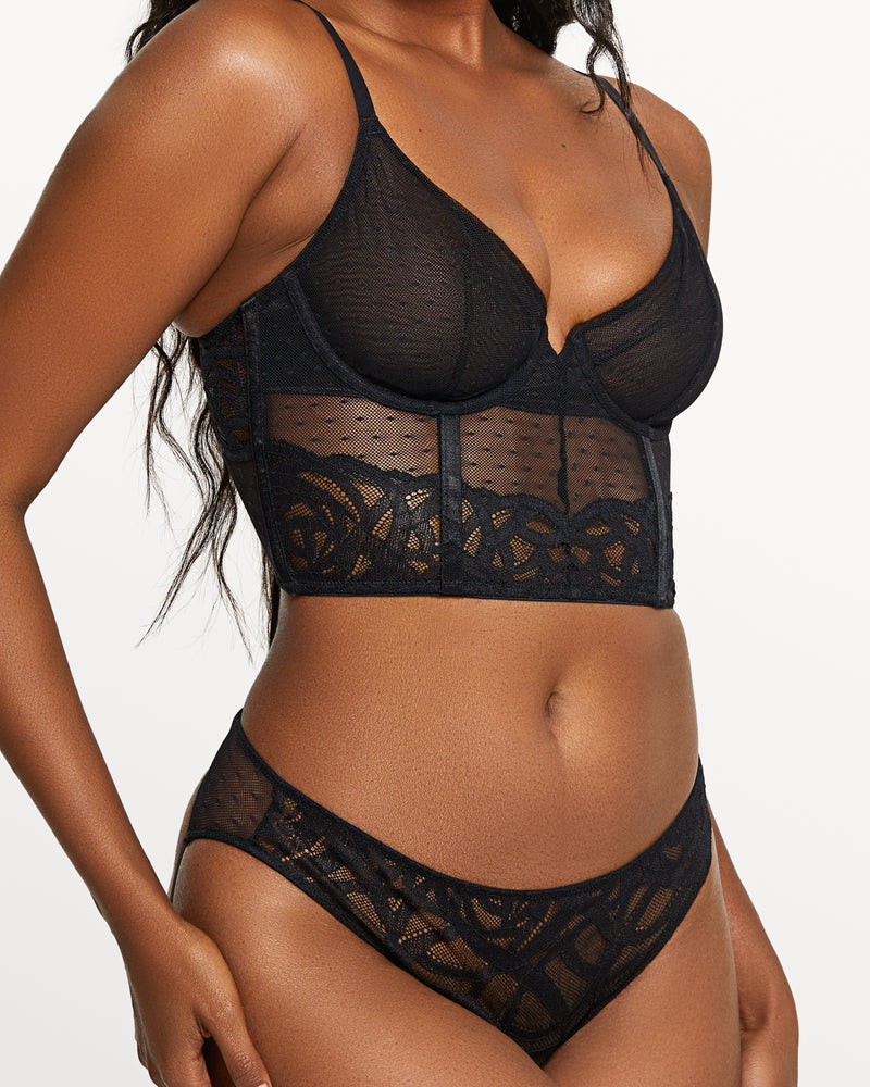Love, Vera Rose Lace & Mesh Cross Back Bra Black