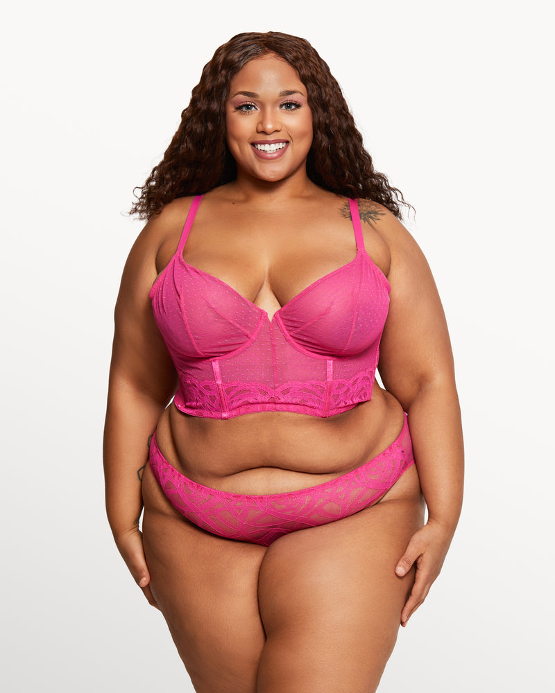 Love, Vera Rose Lace Open Back Cheeky Electric Pink Curvy