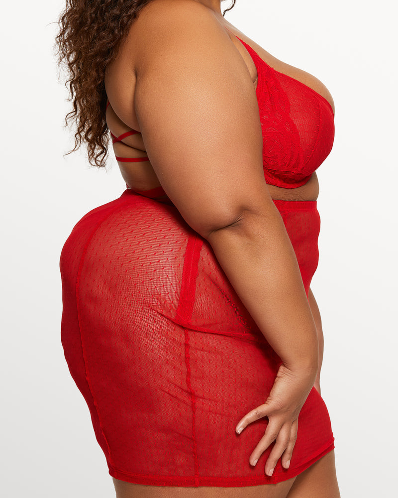 Love, Vera Dot Mesh Pencil Skirt Candy Apple Red Curvy