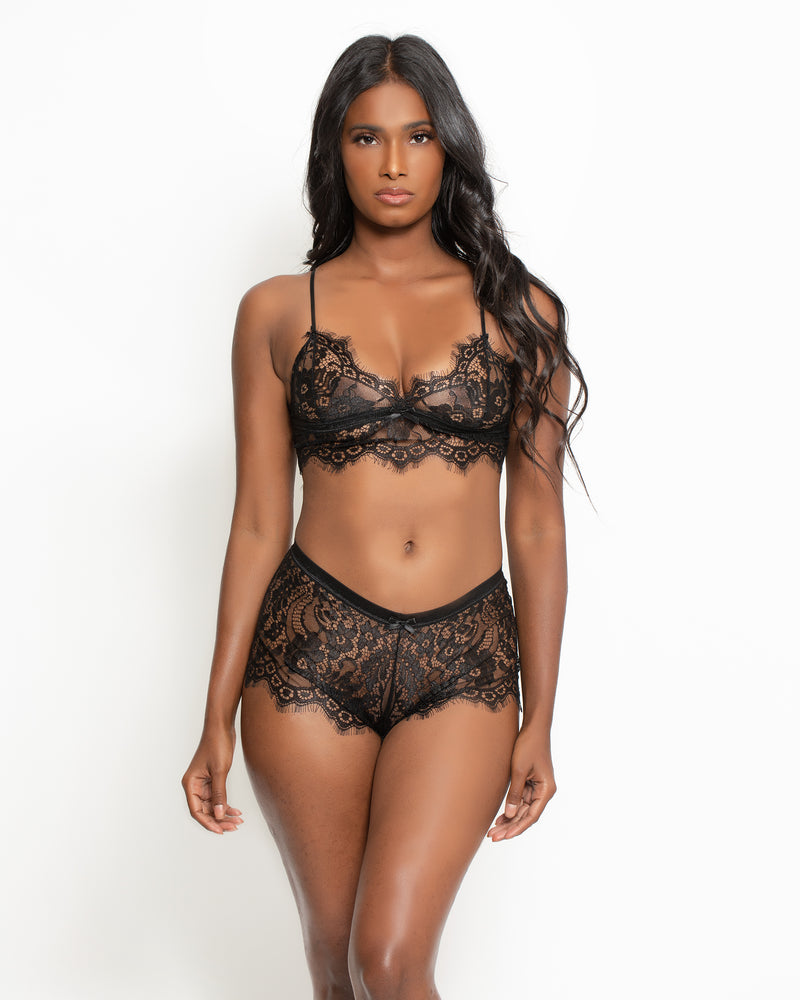 Mikaela Lace Bralette & Short Set Black