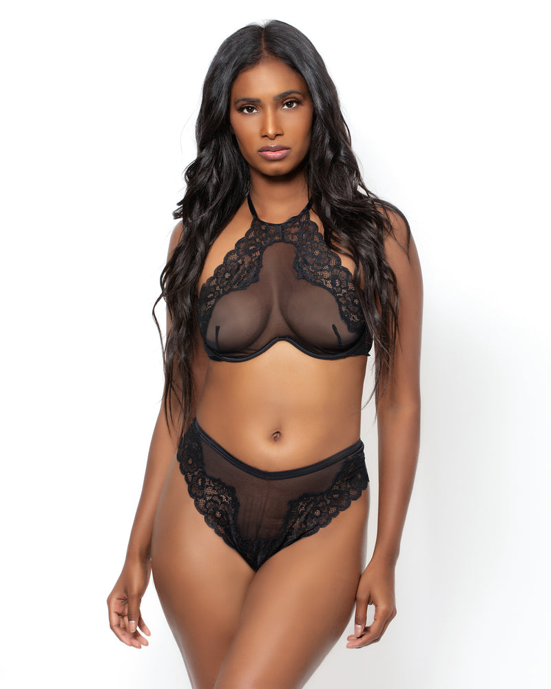 Love, Vera Nude Floral Lace & Mesh Thong Butter Toffee