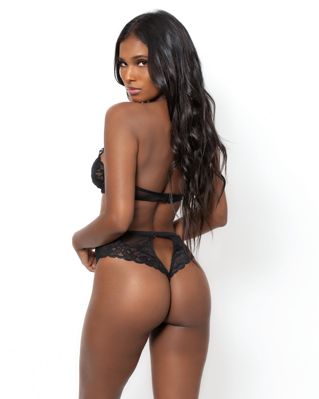 Love, Vera Mesh & Lace High Waisted Thong Smoulder Black