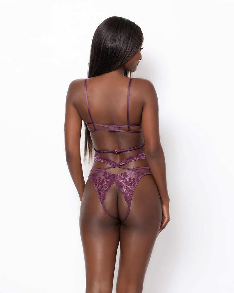 Love, Vera Open Back Cutout Cheeky Brandywine