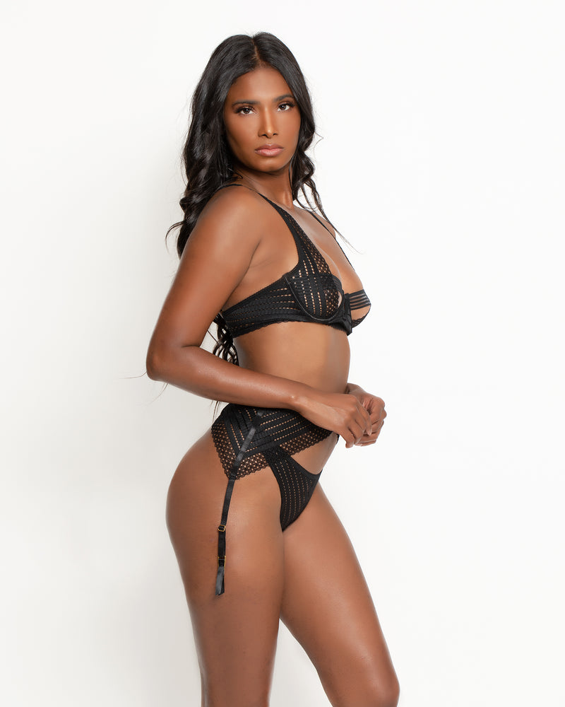 Sidney Three-Piece Garter Set Black