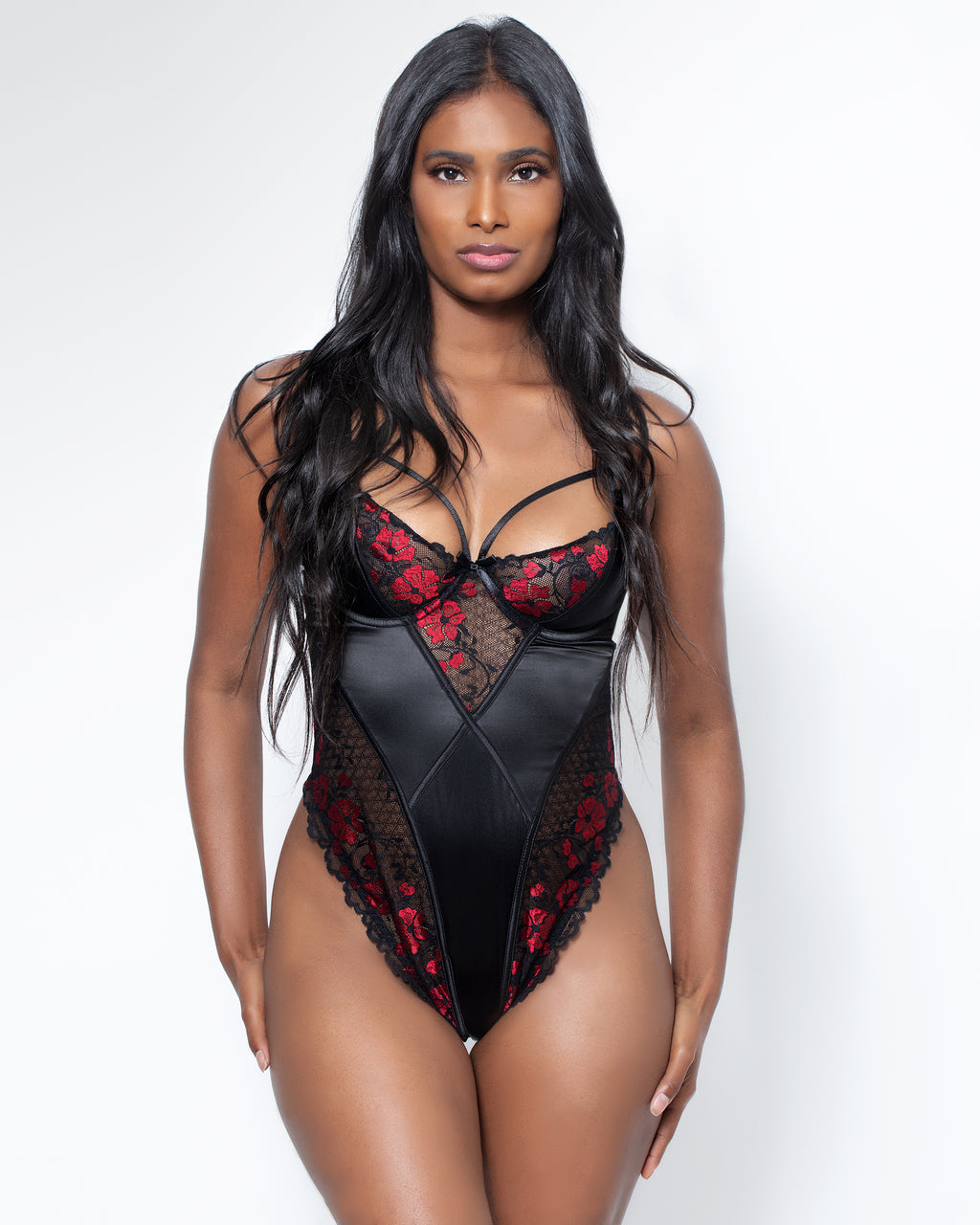 Zora Satin & Lace Teddy Red & Black