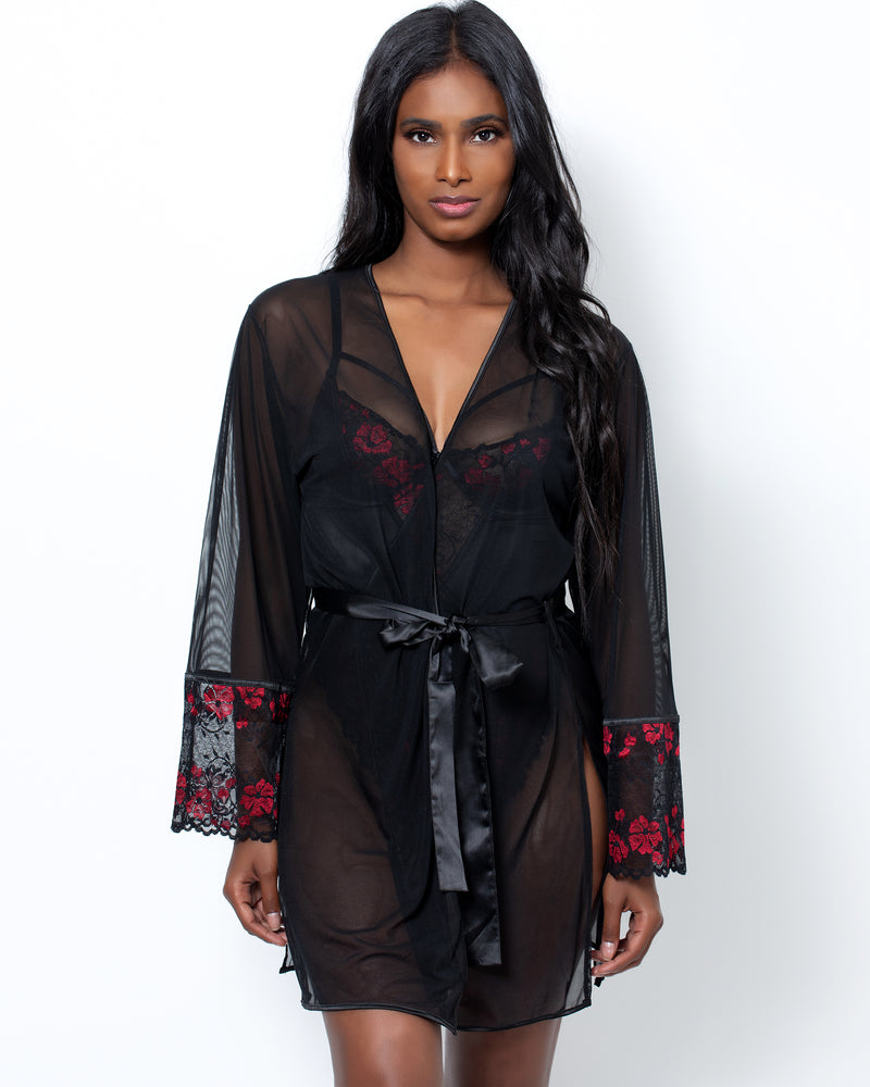 Zora Satin & Lace Robe Red & Black
