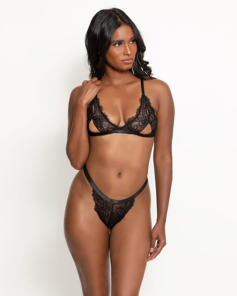 Amina Exposed Cup Bra Set Black