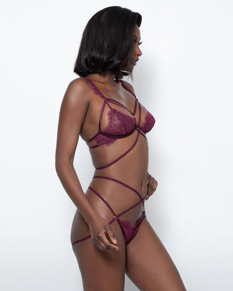 Love, Vera Open Back Cage Thong Wild Rose