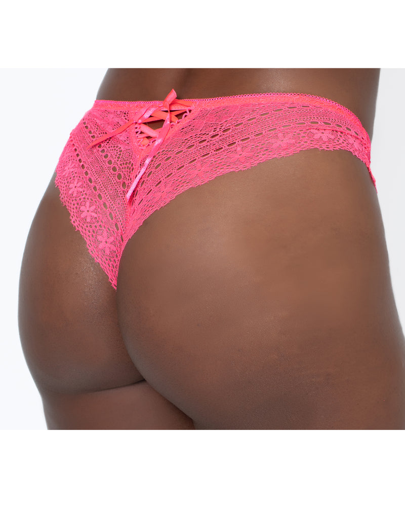 Geo Galloon Lace Panty Coral