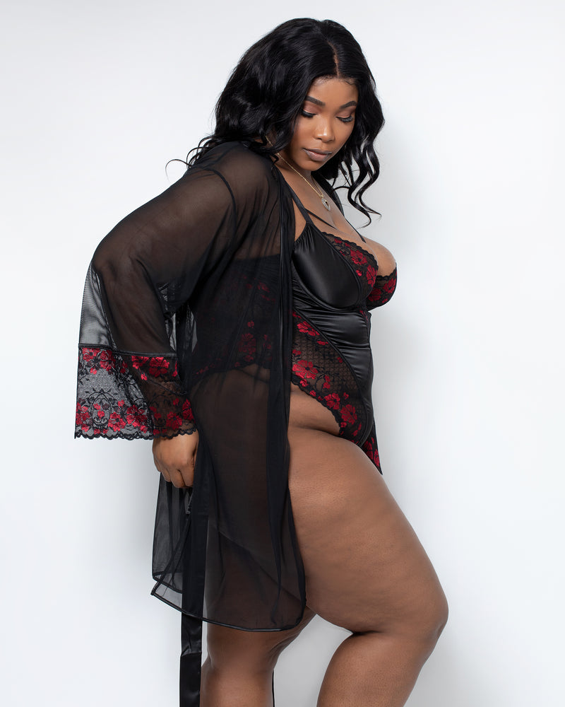 Zora Satin & Lace Robe Red & Black Curvy