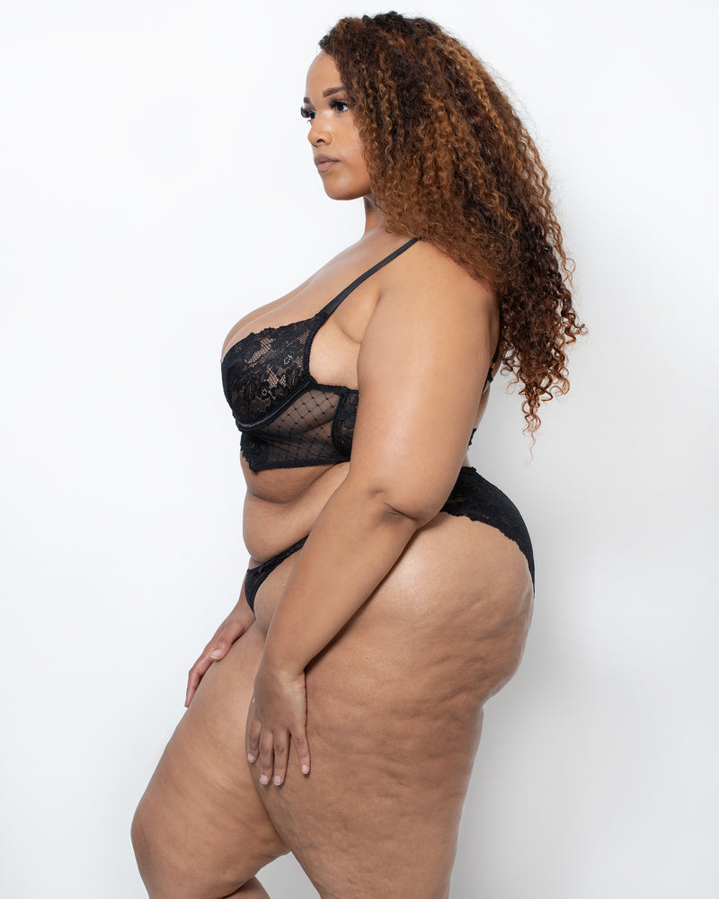 Summer Lace & Geo Mesh Set Black Curvy