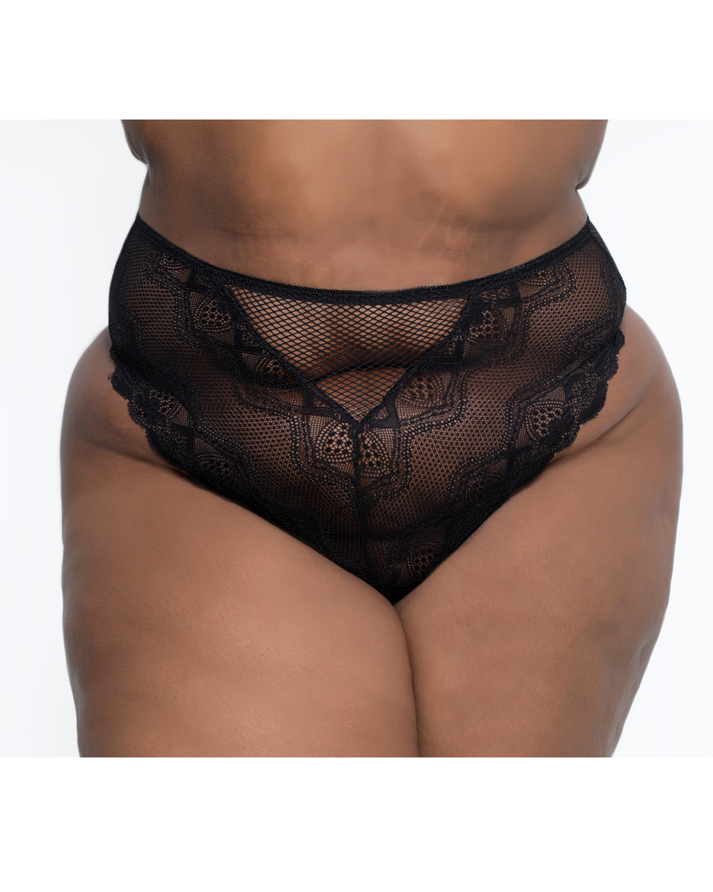 Lace & Fishnet High Waisted Thong Black Curvy