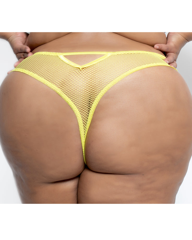 Lace & Fishnet High Waisted Thong Chartreuse Curvy