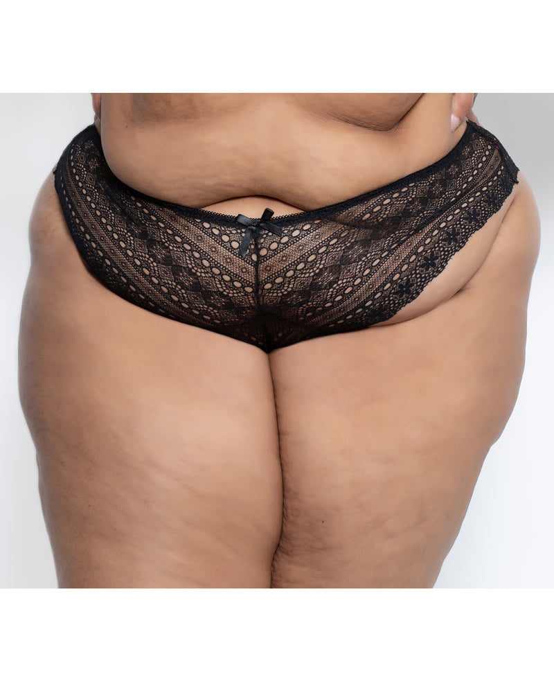 Geo Galloon Lace Panty Black Curvy