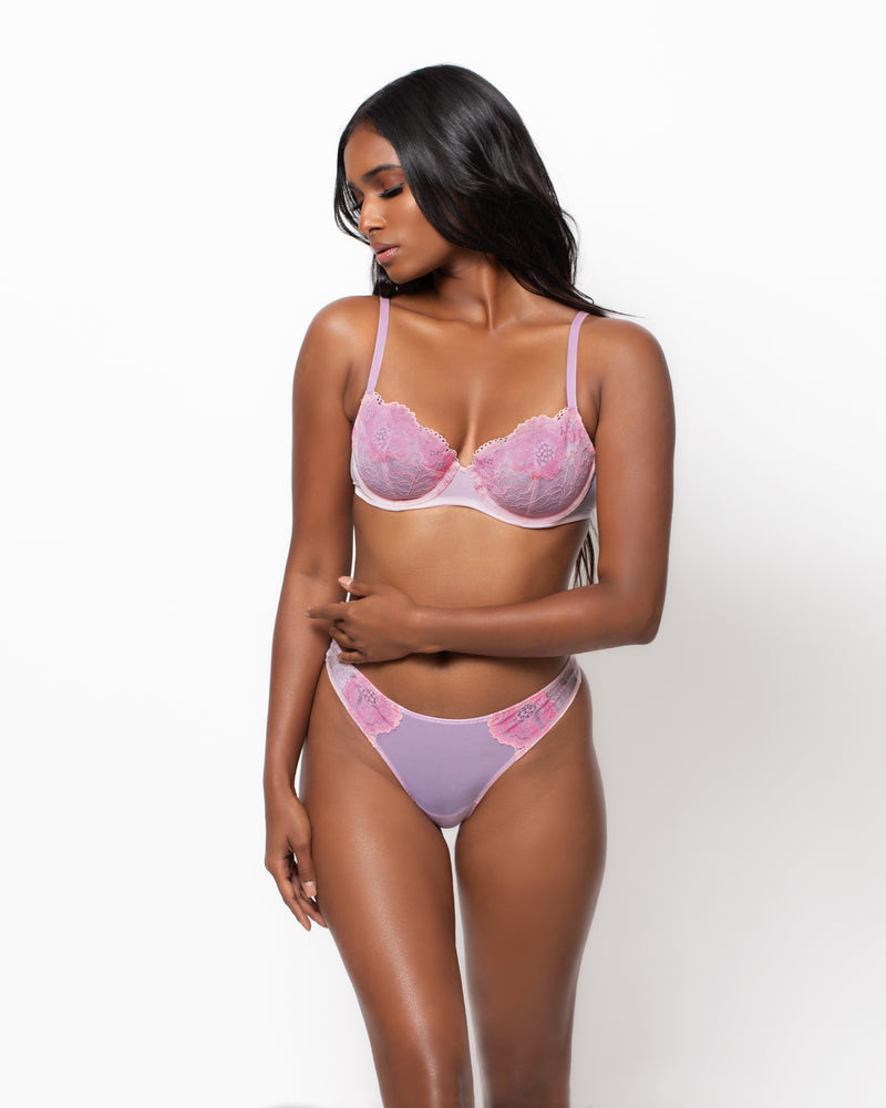 Love, Vera Floral Lace & Mesh Bra Whisper Pink