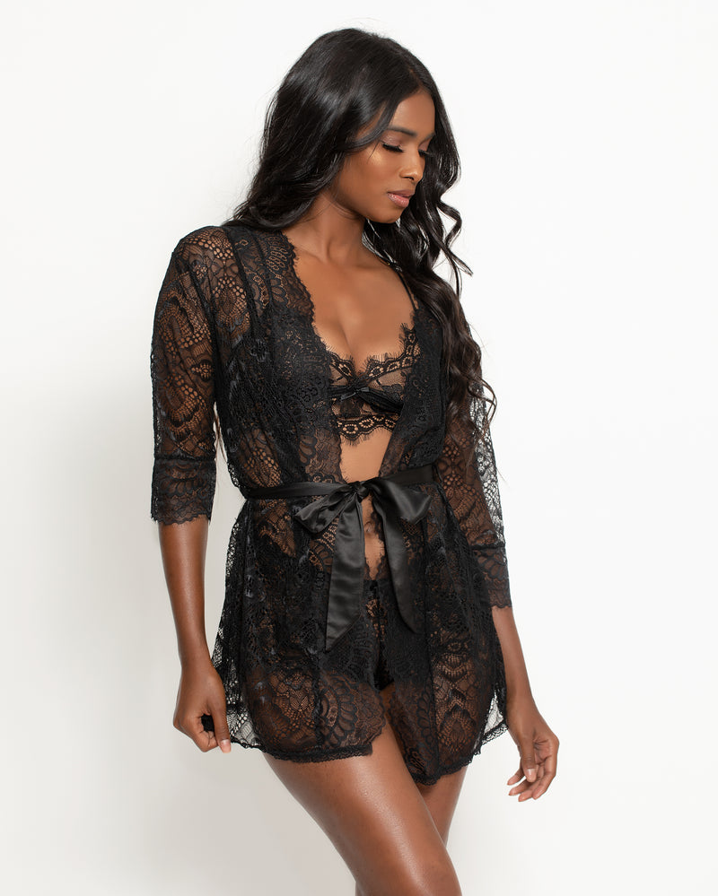 April Lace Robe Black