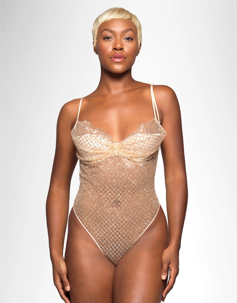 Bey Glitter Grid Teddy Almond