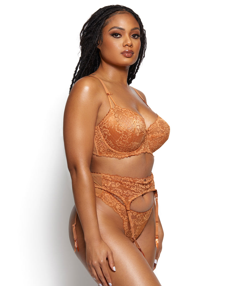 Love, Vera Nude Floral Lace & Mesh Garter Manuka Honey