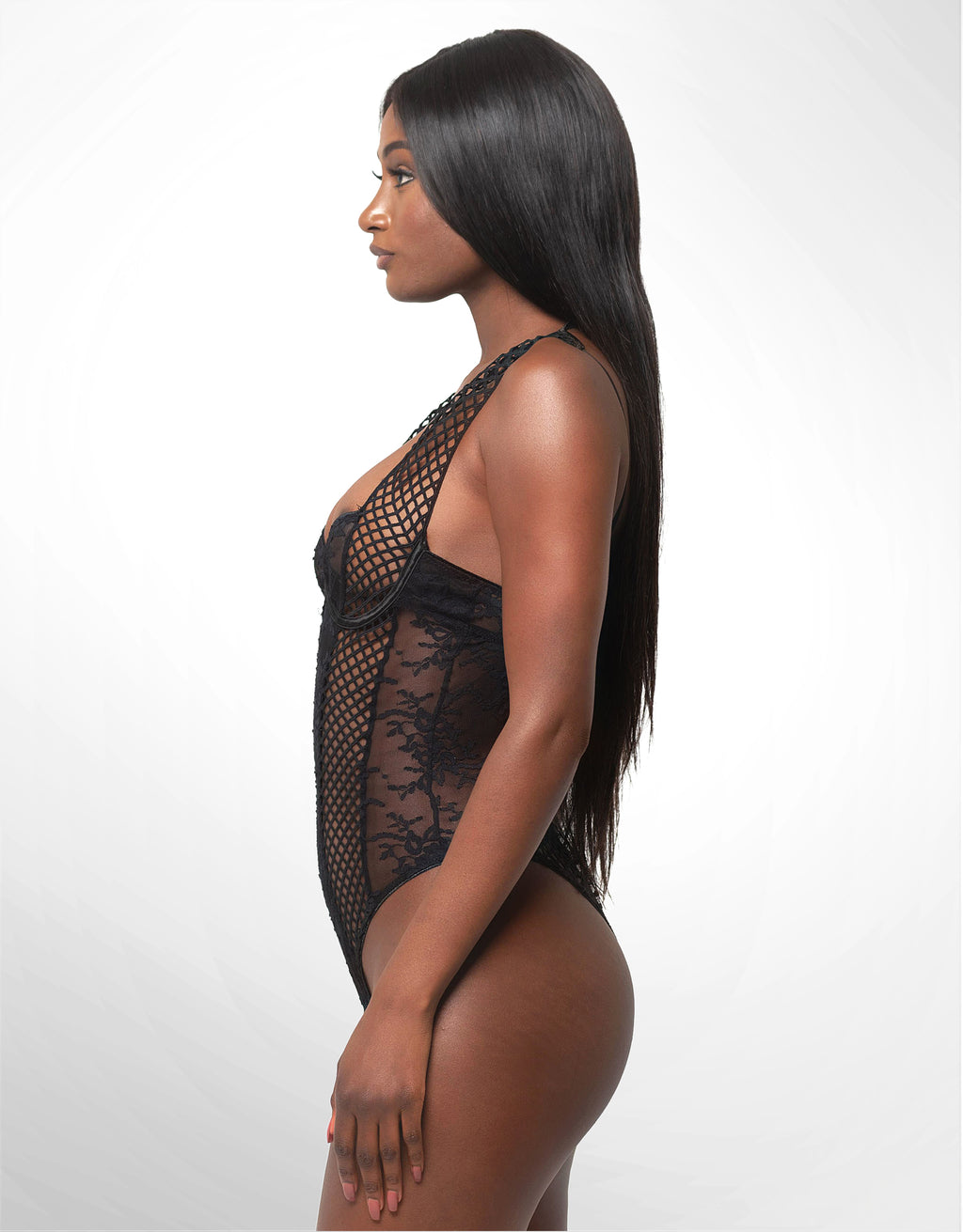 Candace Lace Bodysuit w/Lattice Trim Black