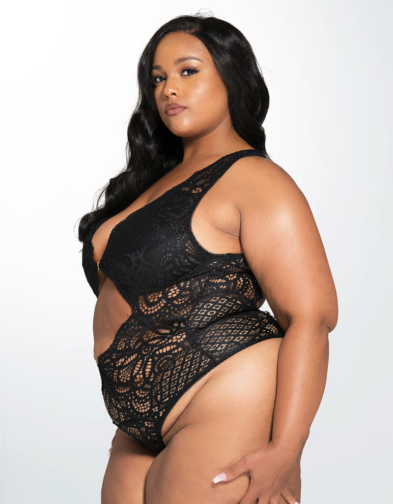 Stephanie Bohemian Lace Bodysuit Black Curvy