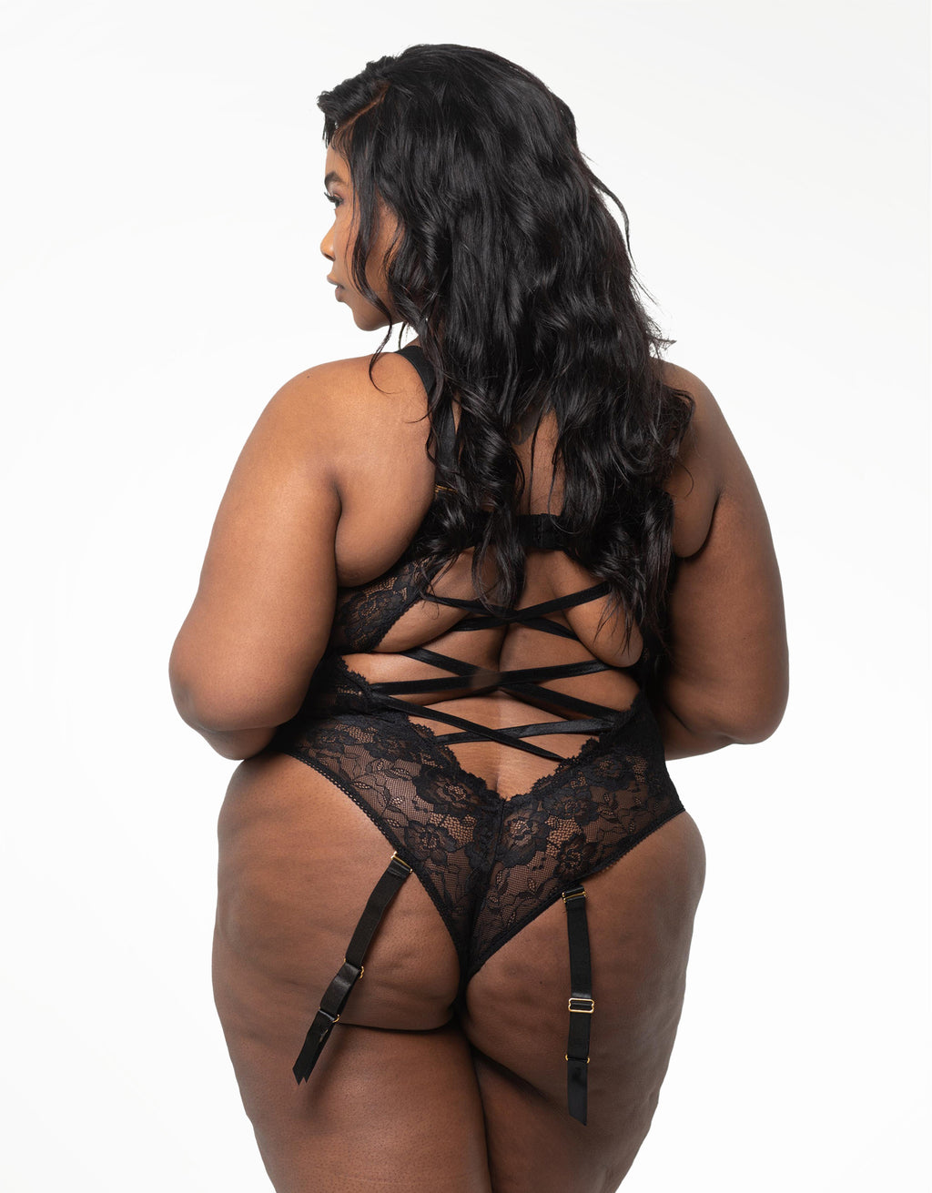 Tiana Velvet and Lace Bodysuit Black Curvy