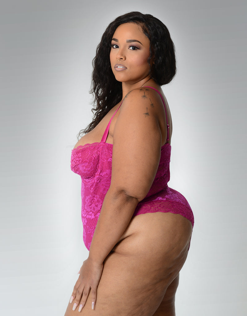 Lauren High Leg Lace Teddy Fuschia Curvy