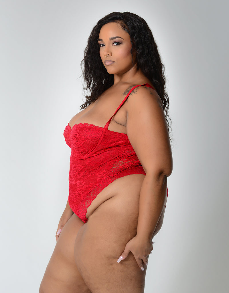 Lauren High Leg Lace Teddy Red Curvy