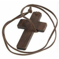 Wooden Cross Pendant Religious Necklace