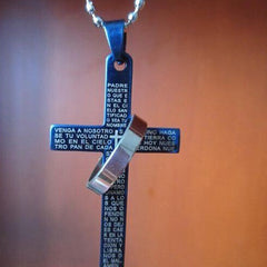 Lord's Prayer Cross Pendant With Bible Necklace