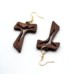 Hollow Cross Jesus Natural Wood Earring Free Just pay Shipping | Angelic Gift Shop