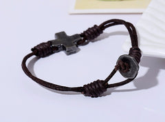Jesus Cross Rope Chain Leather Bracelet Free Just pay Shipping | Angelic Gift Shop