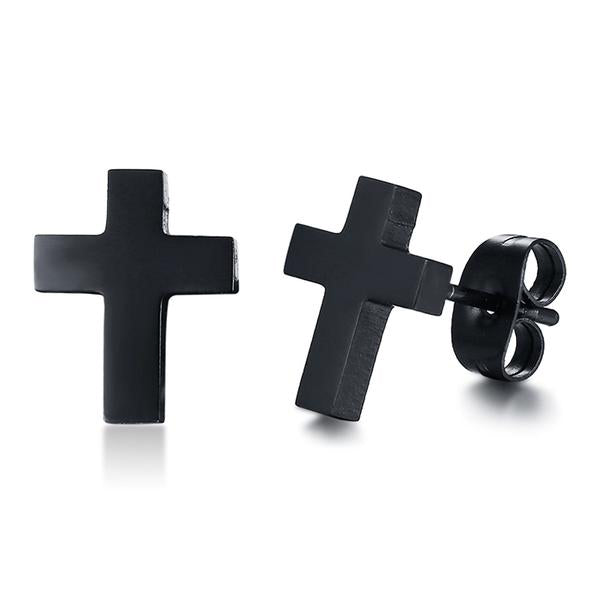 Stainless Steel Black Cross Stud Earring Free Just pay Shipping | Angelic Gift Shop