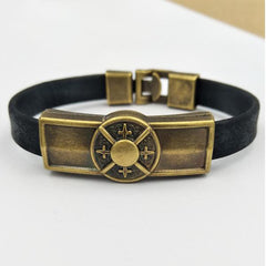 Metal Peace Badge Leather Bracelet Free Just pay Shipping | Angelic Gift Shop